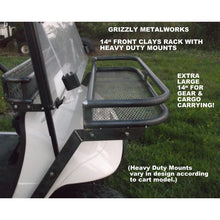 "Load image into Gallery viewer, FRONT CLAYS BASKETS & RACKS for Golf Carts -Extra Heavy Duty; Standard 11-3/4"" OR  Large 14"" Size; Works with Fold Down Windshield! Premium 13 Ga Expanded Sheet Metal Sides/Base! NOT Mesh! FREE FEDEX (Click Link: FREE SHIPPING for details)"