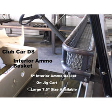 "Load image into Gallery viewer, INTERIOR AMMO CLAYS BASKET -  Mounts Over the Dash for Golf Carts- Heavy Duty - Sizes: 7.5"" Large & 5.0"" Standard - 13 Gauge Expanded Flat Sheet Metal! Great for Snacks, Wallets, Sunscreen, Hats & More FREE FEDEX Ground - See Details"