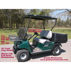 "FRONT CLAYS BASKETS & RACKS for Golf Carts -Extra Heavy Duty; Standard 11-3/4"" OR  Large 14"" Size; Works with Fold Down Windshield! Premium 13 Ga Expanded Sheet Metal Sides/Base! NOT Mesh! FREE FEDEX (Click Link: FREE SHIPPING for details)"