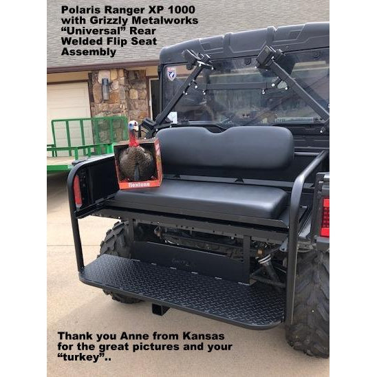 UNIVERSAL SIDE X SIDE WELDED REAR FLIP SEAT W/Cargo Storage Area - Heat Shield! 3 sizes to fit your UTV, Polaris Ranger XP 1000,John Deere, Gator, Mule, etc.!! 13 GA Expanded OR 14 GA Solid Sheet Metal