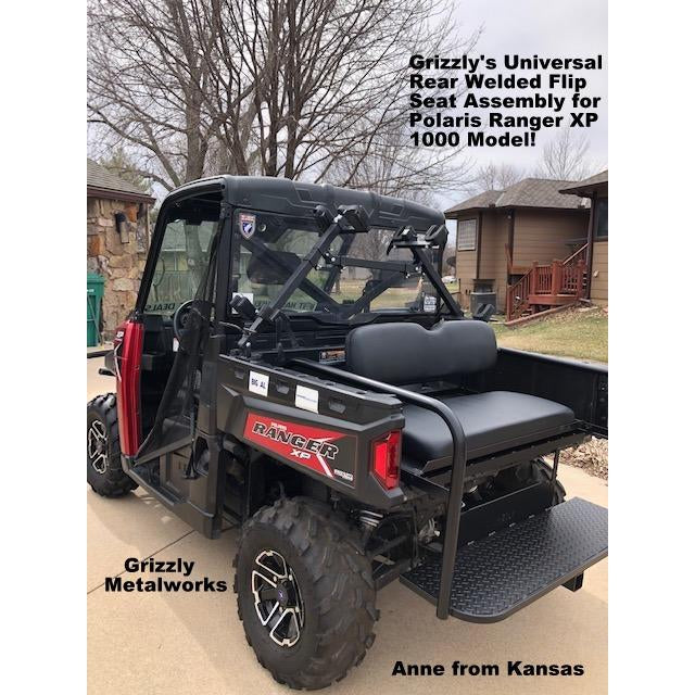 UNIVERSAL SIDE X SIDE WELDED REAR FLIP SEAT W/Cargo Storage Area - Heat Shield! 3 sizes to fit your UTV, Polaris Ranger XP 1000,John Deere, Gator, Mule, etc.!! 13 GA Expanded OR 14 GA Solid Sheet Metal, FREE FREIGHT (Click Link: FREE SHIPPING for details)