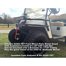 Load image into Gallery viewer, FRONT WELDED WINCH PLATE WRAP AROUND BRUSH GUARDS for Golf Carts -Heavy Duty Winch Plate FREE FEDEX Ground - See Details