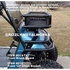 "FRONT CLAYS BASKETS & RACKS for Golf Carts -Extra Heavy Duty; Standard 11-3/4"" OR  Large 14"" Size; Works with Fold Down Windshield! Premium 13 Ga Expanded Sheet Metal Sides/Base! NOT Mesh! FREE FEDEX Ground - See Details"