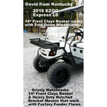 "Load image into Gallery viewer, FRONT CLAYS BASKETS & RACKS for Golf Carts -Extra Heavy Duty; Standard 11-3/4"" OR  Large 14"" Size; Works with Fold Down Windshield! Premium 13 Ga Expanded Sheet Metal Sides/Base! NOT Mesh! FREE FEDEX Ground - See Details"