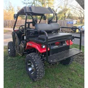 """Honda Pioneer 500 REAR WELDED FLIP SEAT ASSEMBLY-Raw Metal- W/Grizzly's Amazing Heat Shield, Black Cushion Set; 13 GA Exp. Sheet Metal; Open Cargo Area-INSTANTLY TRANSFORMS YOUR PIONEER-Options: Seat Belts,2"""" Receiver,Grab Bar;14 GA Foot Tread Plate"""