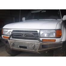 "Load image into Gallery viewer, 1989-1997 Toyota Land Cruiser Model 80 Series Front Winch Plate Bumper  - WELDED USA METAL! NOT CHINA ""BOLT TOGETHER"" SECTIONS"