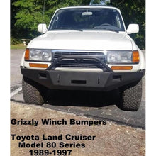 Load image into Gallery viewer, 1989-1997 Toyota Land Cruiser Model 80 Series Custom Front Winch Plate Bumper (Non-Winch Work Model Available)-Front Bumper-Grizzly Metalworks-Toyota-Winch Model-Square Boxed-in Cutouts-Grizzly Metalworks