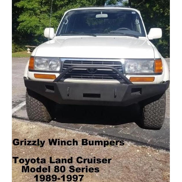1989-1997 Toyota Land Cruiser Model 80 Series Custom Front Winch Plate Bumper (Non-Winch Work Model Available)-Front Bumper-Grizzly Metalworks-Toyota-Winch Model-Square Boxed-in Cutouts-Grizzly Metalworks