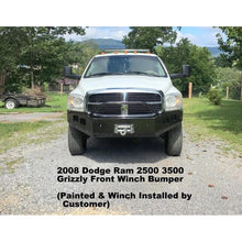 Load image into Gallery viewer, 2006-2009 Dodge Ram 2500 3500 Custom Front Winch Plate Bumper (Non-winch model available)-Front Bumper-Grizzly Metalworks-Dodge-Winch model-Square Boxed-in Cutouts-Grizzly Metalworks