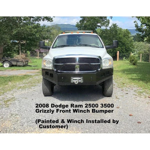 2006-2009 Dodge Ram 2500 3500 Custom Front Winch Plate Bumper (Non-winch model available)-Front Bumper-Grizzly Metalworks-Dodge-Winch model-Square Boxed-in Cutouts-Grizzly Metalworks