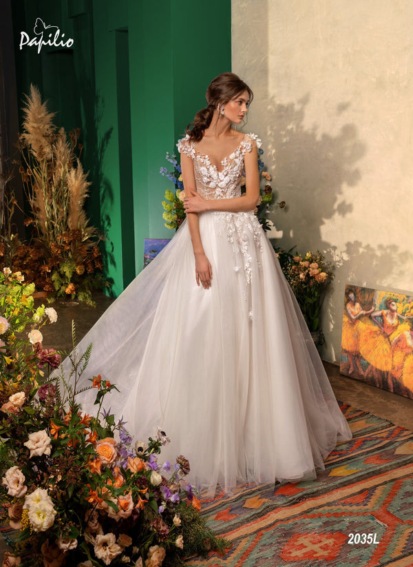 Papilio 2035L A-Line wedding dress with floral applique and cap sleeves