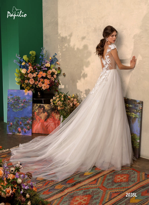Papilio 2035L A-Line wedding dress with floral applique and cap sleeves back