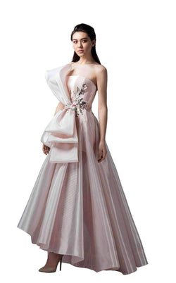 SAIID KOBEISY RE3365 Gold metallic pleated long full strapless bow waist with applique A-line dress