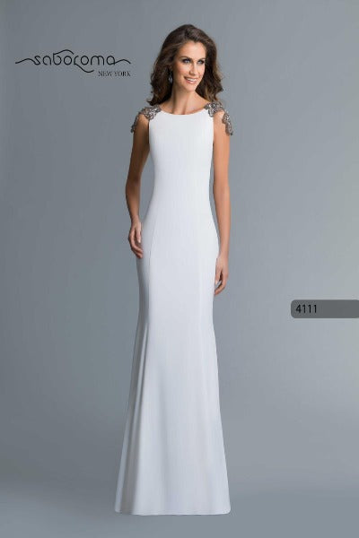 SABOROMA - 4111 BEADED PLUNGING ILLUSION V BACK LONG EVENING GOWN