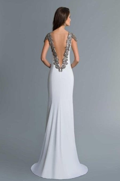 SABOROMA - 4111 BEADED PLUNGING ILLUSION V BACK LONG EVENING GOWN ivory