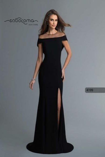 SABOROMA - 4199 ILLUSION DRAPED OFF SHOULDER HIGH SLIT GOWN