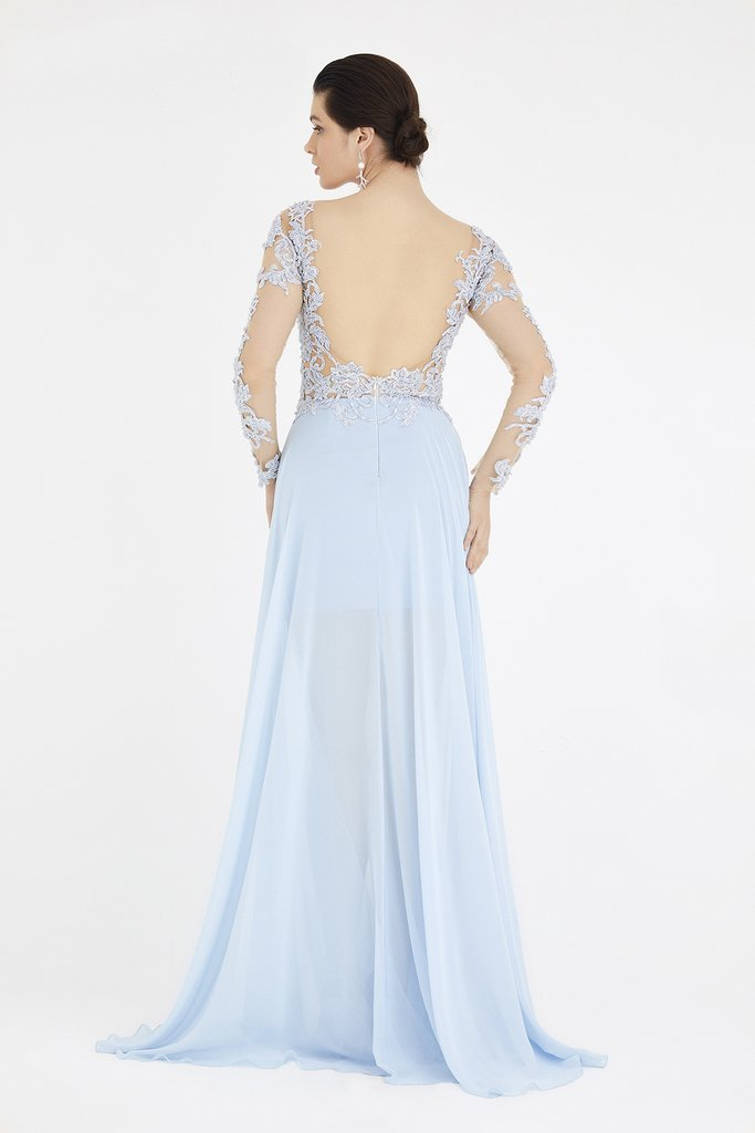 SABOROMA 4408 blue NUDE ILLUSION BODICE GOWN WITH OVERSKIRT_2020