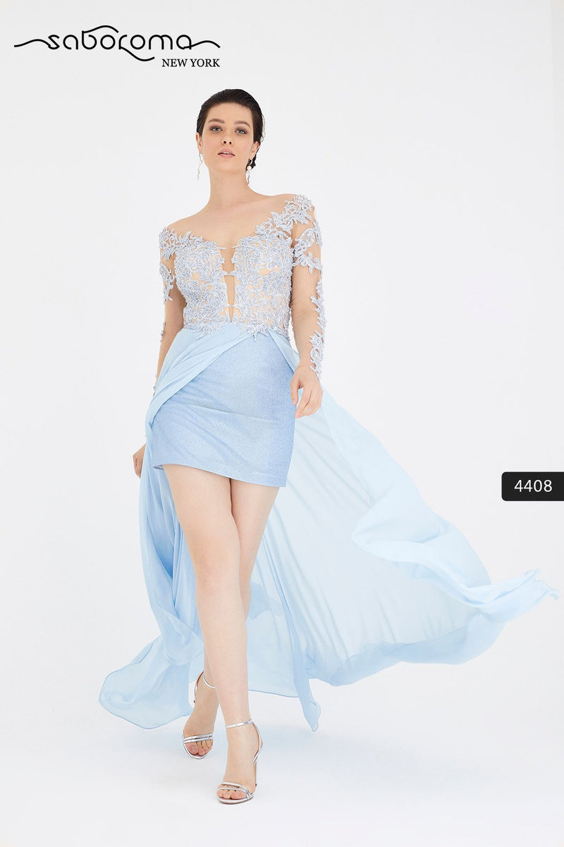 SABOROMA 4408 blue NUDE ILLUSION BODICE GOWN WITH OVERSKIRT