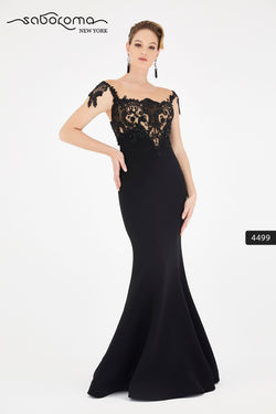 SABOROMA - 4499 CAP SLEEVE BEADED LACE ILLUSION GOWN black
