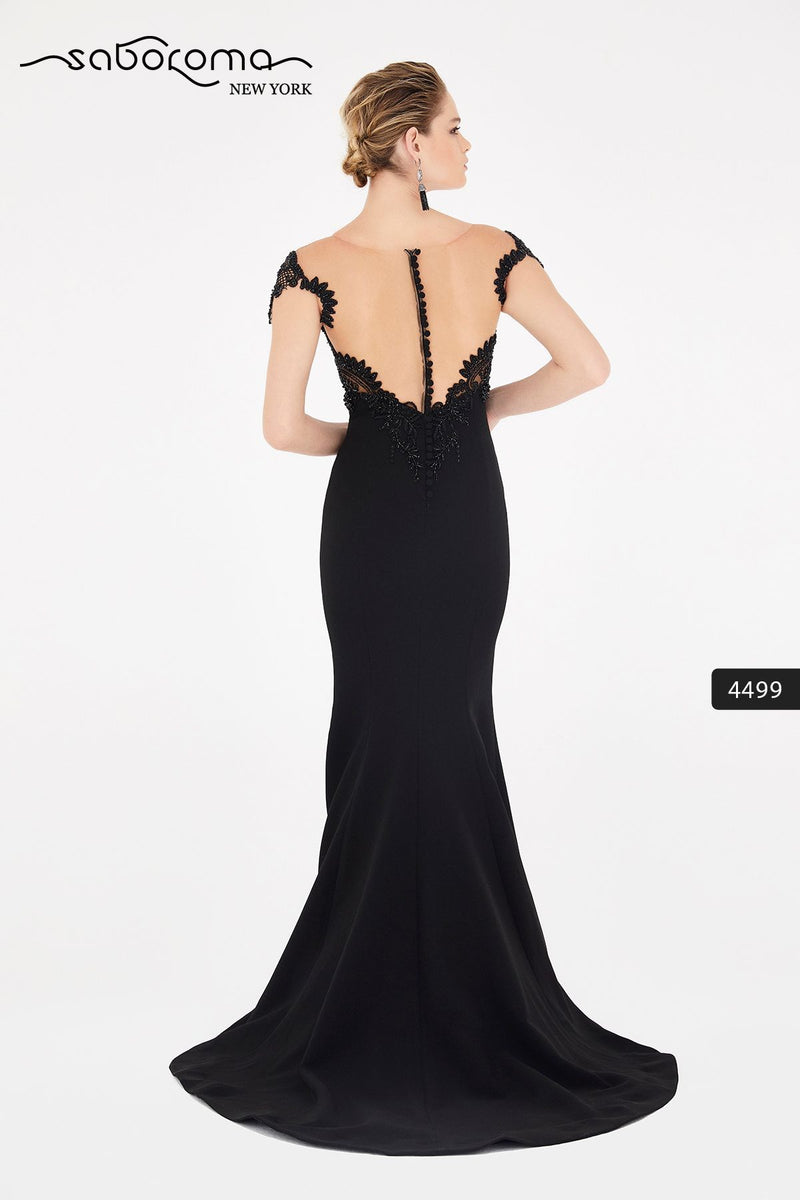 SABOROMA - 4499 CAP SLEEVE BEADED LACE ILLUSION GOWN black 2020