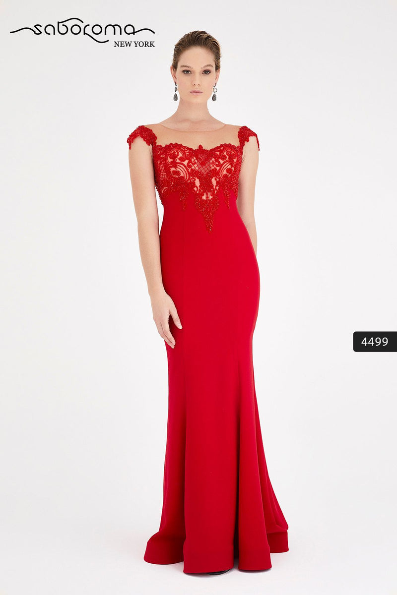 SABOROMA - 4499 CAP SLEEVE BEADED LACE ILLUSION GOWN red