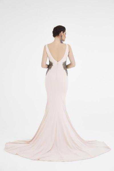 SABOROMA - 4503 BEADED ILLUSION PANELED PLUNGING GOWN