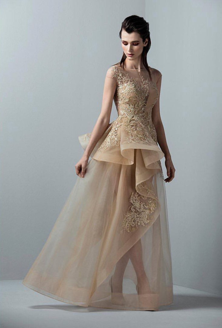 SAIID KOBEISY RE3362 APPLIQUED PEPLUM GOWN
