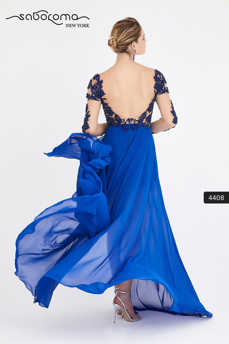SABOROMA 4408 royal blue NUDE ILLUSION BODICE GOWN WITH OVERSKIRT back