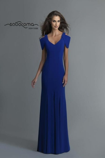 SABOROMA - 99773 COLD SHOULDER V BACK TRUMPET GOWN
