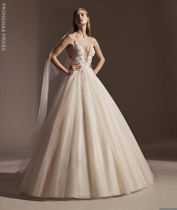 AGUSTINA Pronovias shimmering ball gown deep V-Neck 3d embroidery