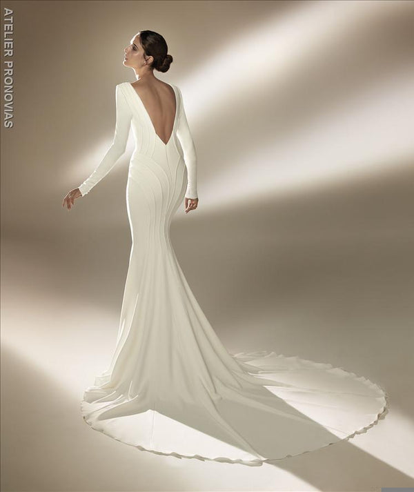 Mermaid wedding dress with V-neck back long sleeves in crepe