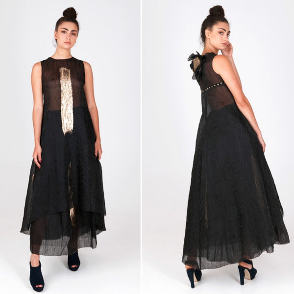 19177 Fely Campo  High-low cocktail dress black gold