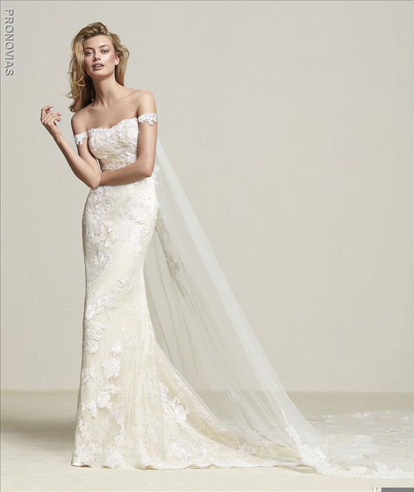 Pronovias DRIA Wedding Dress and Cape sample sale