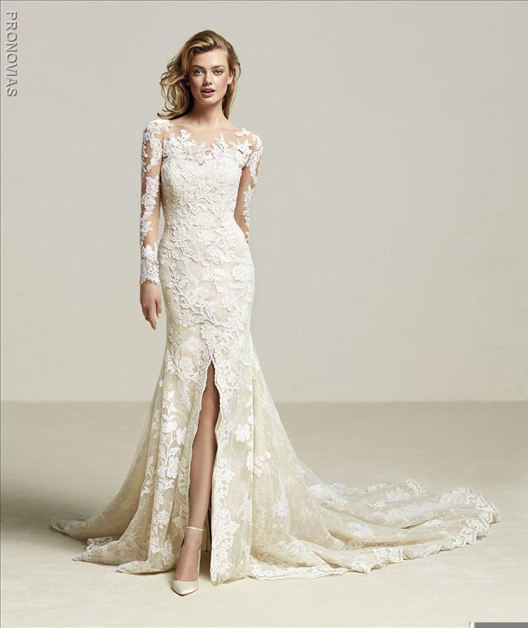 pronovias-driate-lace-embroidered-mermaid-wedding-dress-with-slit-sample-sale