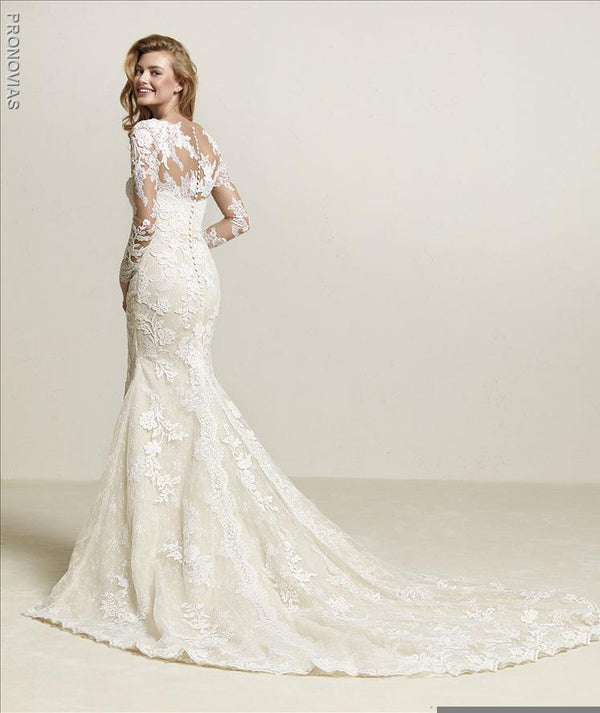 pronovias-driate-lace-embroidered-mermaid-wedding-dress-with-slit sample sale