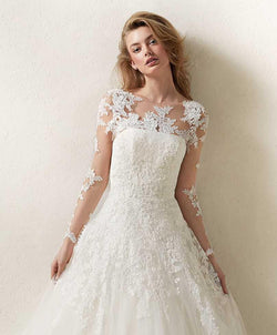 PRONOVIAS DRISELA OFF WHITE LACE JACKET BODICE BOLERO