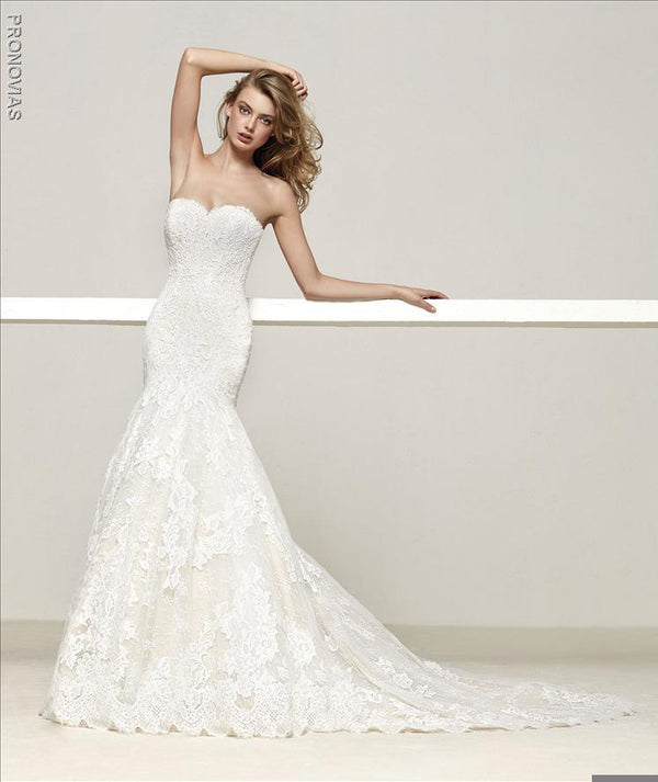 Pronovias Druida Mermaid Wedding dress with sweetheart neckline and open back
