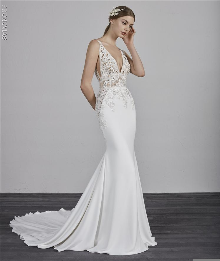 DEEP V-NECK SLEEVELESS BEADED LACE BODICE FIT AND FLARE WEDDING DRESS
