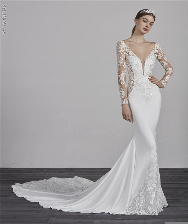 Pronovias Enelsa wedding gown long sleeves