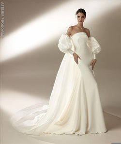 Pronovias Ford Mermaid wedding dress with strapless neckline and open back in crepe