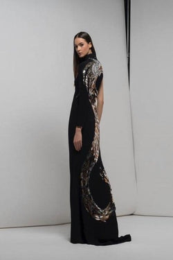 Isabel Sanchis Four 129 Long black dress with gold dragon