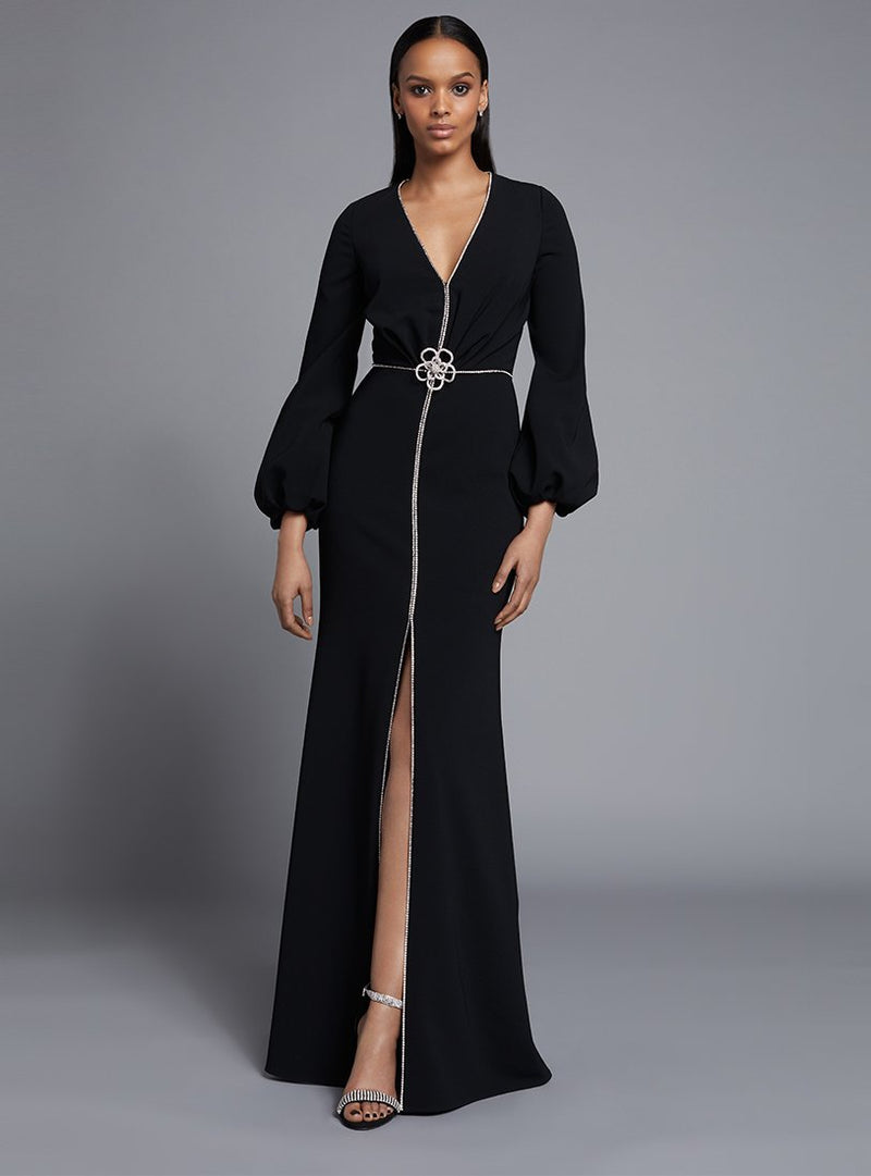 Frascara 3725 Long Dress With Bell Sleeves and Swarovski Details
