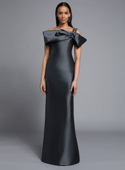 Frascara 3712  Silk/Wool Gown With Beaded Stripe