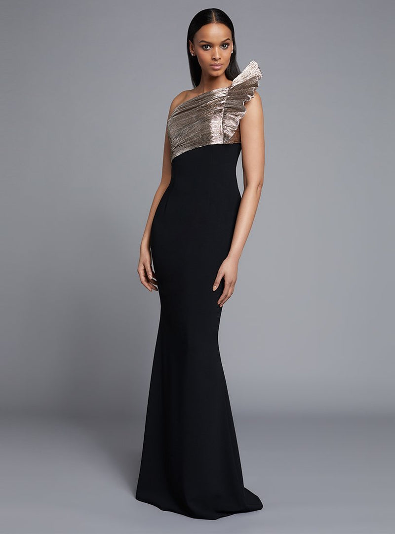 Frascara 3733  Matte Crepe One Shoulder Gown W/Plisse Detail