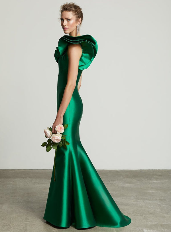 Frascara 3609 one shoulder silk wool gown mother of emerald