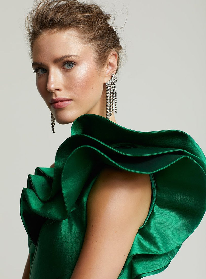 Frascara 3609 one shoulder gown mother of emerald