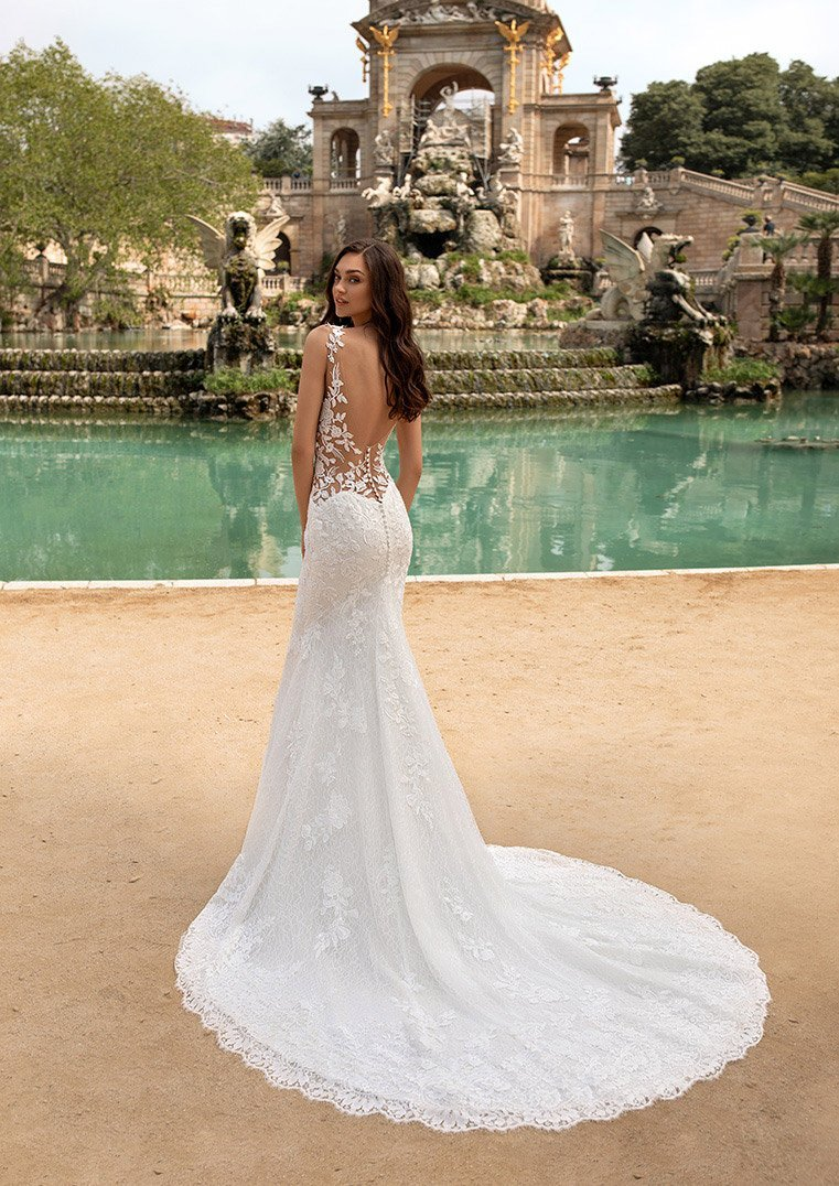 Pronovias Morocco Wedding dress in lace with mermaid cut, V-neck and illusion back fontaine