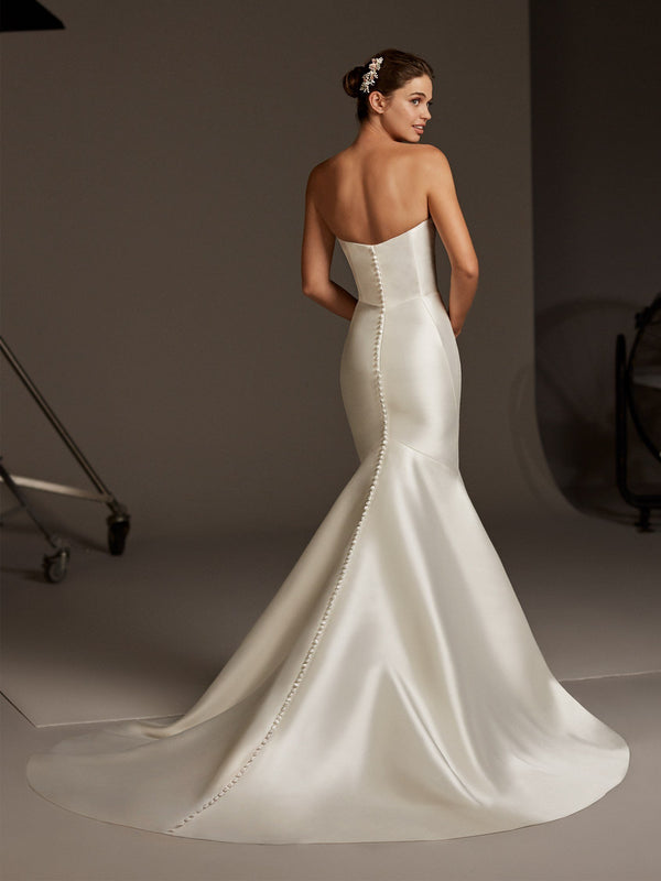 Pronovias OBERON Strapless mermaid dress in mikado back buttons