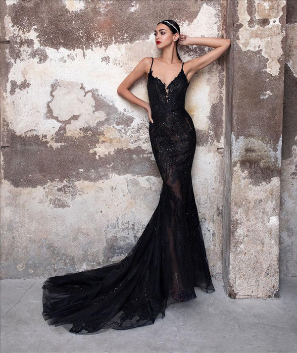 Pronovias Obsidian  Black Grey Wedding Dress Mermaid