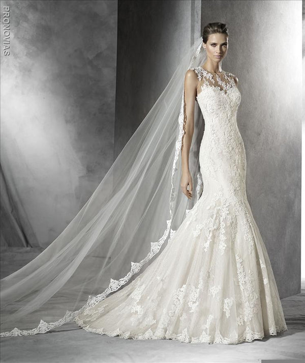 Pronovias Pladie Illusion neckline mermaid trumpet wedding dress with lace